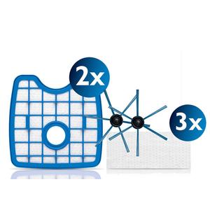 Kit PHILIPS SmartPro Active FC8068/01: 3 lavete uscate pentru mop + 2 filtre de schimb + 2 perii