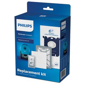 Kit PHILIPS Performer Compact FC8074/01: 1 filtru Super Clean Air + 1 odorizant + 1 filtru de intrare pentru motor + 3 saci