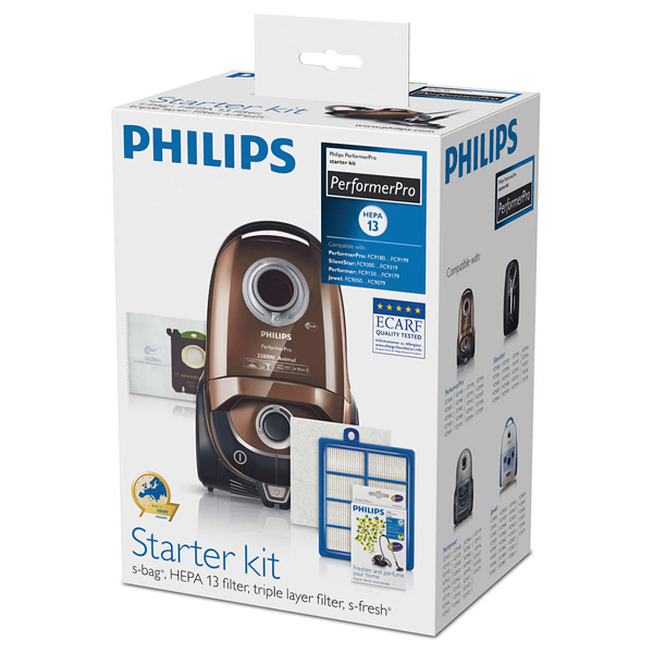 Kit PHILIPS PerformerPro FC8060/01: 4 saci + 1 filtru evacuare + 1 filtru intrare cu strat triplu