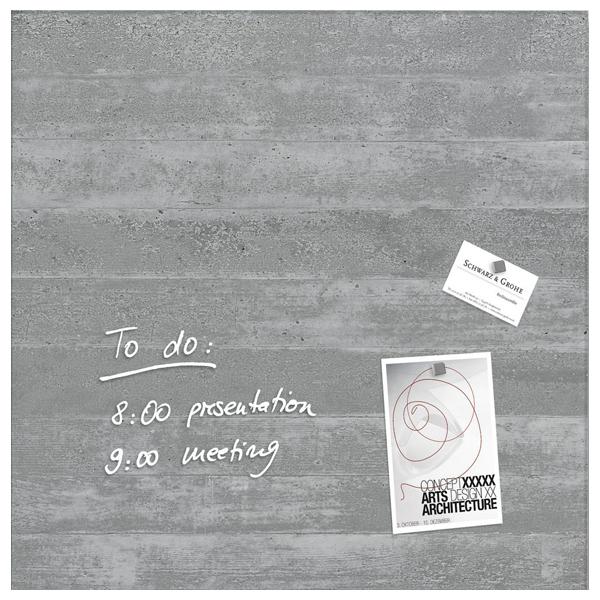 Tabla magnetica-sticla artverum® SIGEL GL168, 48 x 48 cm, gri
