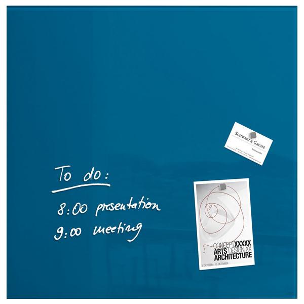 Tabla magnetica-sticla artverum® SIGEL GL252, 48 x 48 cm, albastru