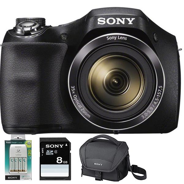 Camera foto digitala SONY DSC-H300, 20.1 Mp, 35x, 3 inch, negru + husa + card