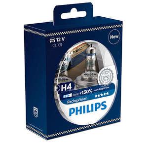 Set 2 becuri auto PHILIPS H4 RacingVision+150% 12V