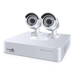 Kit supraveghere video HOMEGUARD Platinum HGDVK47702, 2 camere Full HD, DVR, 4 canale, alb