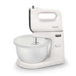 Mixer cu bol PHILIPS Viva Collection HR3745/00, 3l, 450W, 5 trepte viteza, alb-gri