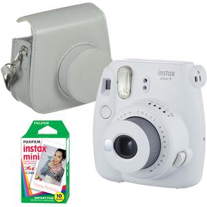 Pachet camera foto instant FUJI Instax mini9 + Husa piele + 10 poze , Smoky White