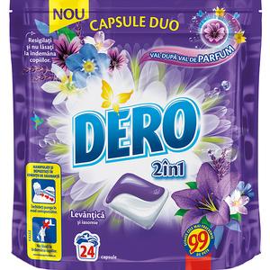 Detergent DERO Duo CapsLavanda, 24 capsule, 24 spalari