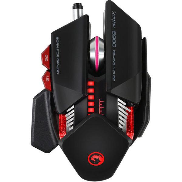 Mouse Gaming MARVO G980, 6000 dpi, negru-rosu