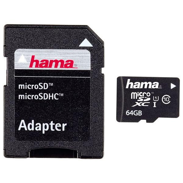 Card de memorie HAMA 108075 microSDXC, 64GB, Clasa 10 UHS-I, 22MBs, adaptor