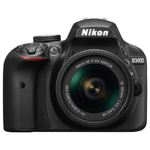 Camera foto DSLR NIKON D3400 + obiectiv AF-P 18-55mm VR , 24.2 Mp, 3 inch, negru