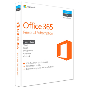 Microsoft Office 365 Personal, Engleza EuroZone, Subscriptie 1 an, 1 PC/Mac, 1 Tableta, 1 Telefon, Windows, Mac, Android, iOS