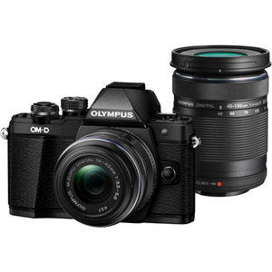 Aparat foto Mirrorless OLYMPUS E-M10 MARK II DOUBLE ZOOM, Obiectiv 14-42MM+ Obiectiv 40-150MM, 16 MP, Negru
