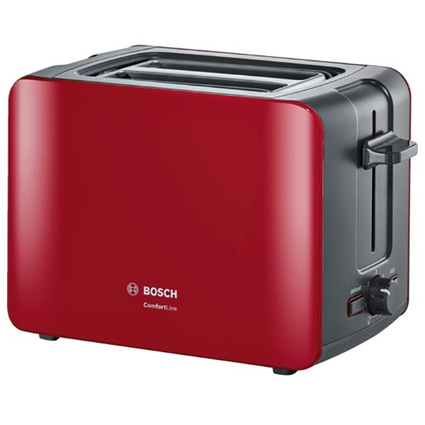 Prajitor de paine BOSCH ComfortLine Compact toaster TAT6A114, 915-1090W, Rosu