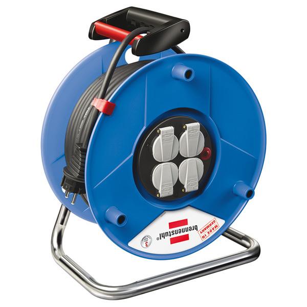 Derulator BRENNENSTUHL Garant 143929, 4 prize Schuko, 25m H05VV-F 3G1.5mm, albastru