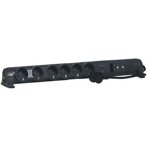 Prelungitor cu protectie LEGRAND Xenon L694666, 6 prize, 2xRJ45, 2xTV, 1.5 m, negru