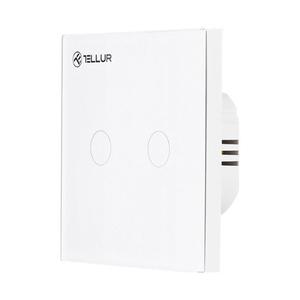 Intrerupator dublu cu touch TELLUR TLL331051, Wi-Fi, 1800W, alb
