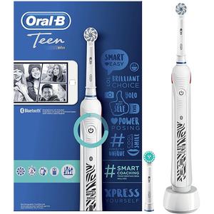 Periuta de dinti electrica ORAL-B Teen, Curatare 3D, Bluetooth, 3 programe, 40000 pulsatii/min, 2 capete, alb