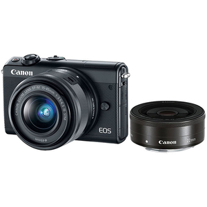 Camera foto digitala mirrorless CANON EOS M100 + Obiectiv 15-45mm + Obiectiv 22mm, Full HD, 24.2Mp, Wi-Fi, Bluetooth, negru
