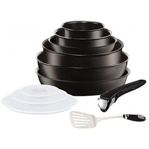 Set de vase TEFAL Ingenio Expertise L6509902, 11 piese, 16-28cm, aluminiu, negru