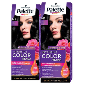 Pachet promo, Vopsea de par PALETTE Intensive Color Creme, N1 Negru, 2 x 110ml