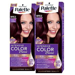 Pachet promo, Vopsea de par PALETTE Intensive Color Creme, RFE3 Brun violet, 2 x 110ml