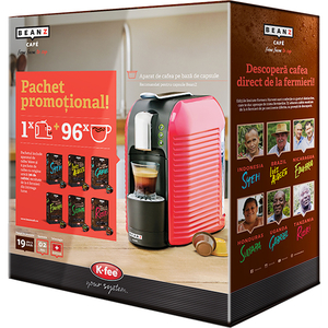 Pachet Espressor BEANZ Wave 304297 + 6 cutii de capsule cu cafea, 1l, 19 bari, 1455W, rosu