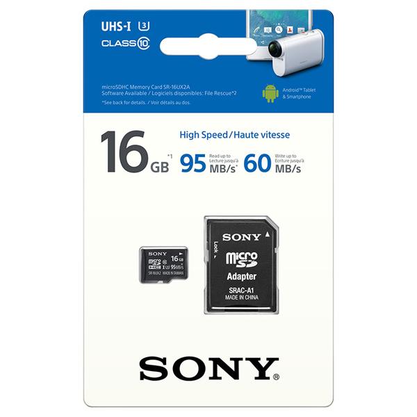 Card de memorie SONY Expert microSDHC 16GB, Clasa 10 UHS-I U3, 95MBs, adaptor