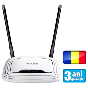 Router wireless N300 TP-LINK TL-WR841N (RO), 300Mbps, WAN, LAN, alb