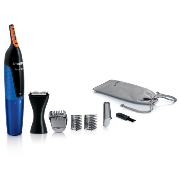 Trimmer nas / urechi / sprancene PHILIPS NOSETRIMMER seria 5000 NT5175/16, baterie, negru-albastru