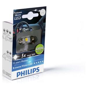 Bec auto led PHILIPS C5W Xtreme Vision, 12V, 1W/4000K, 38mm, 1 bucata