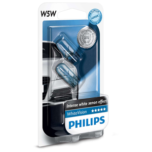 Bec auto halogen PHILIPS W5W white vision, 12V, 5W, W2.1*9.5D T10, blister, 2 bucati