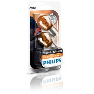 Bec auto halogen PHILIPS PY21W, 12V, 21W, BAU15S, orange blister, 2 bucati