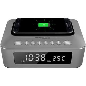 Ceas cu radio PROMATE timeBase-1, Statie incarcare, Bluetooth, 10W, gri