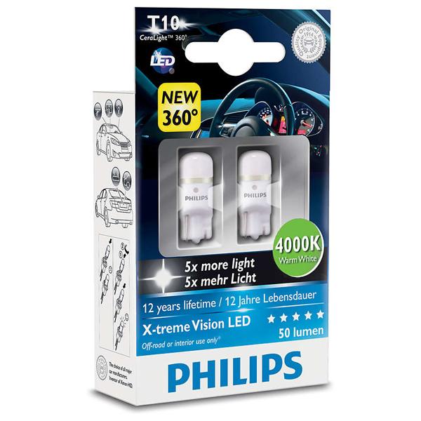 Bec auto led PHILIPS W5W Xtreme Vision, 12V, 1W/4000K, 2 bucati