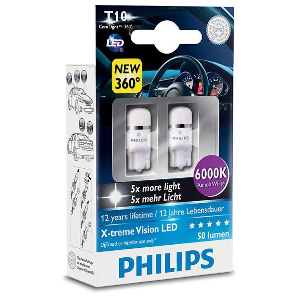 Bec auto led PHILIPS W5W Xtreme Vision, 12V, 1W/6000K, 2 bucati