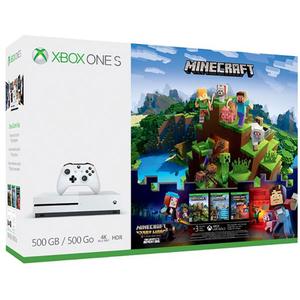 Consola MICROSOFT Xbox One S 500 GB, alb + joc Minecraft Complete Adventure