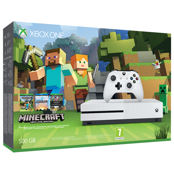 Consola MICROSOFT Xbox One S 500 GB, alb + joc Minecraft Favourites (cod download)