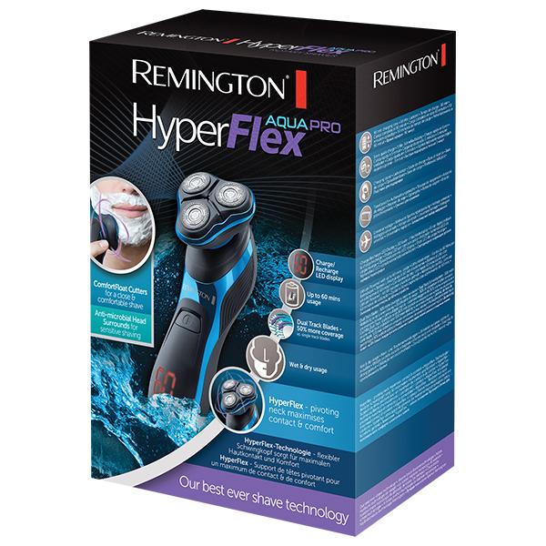 Aparat de ras cu capete rotative HyperFlex Aqua Pro REMINGTON XR1470, 60 min autonomie, negru-albastru
