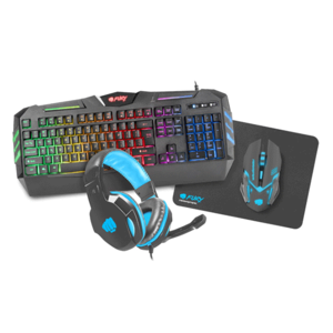 Kit Gaming 4 in 1 FURY Thunderstreak, tastatura, mouse, casti, mousepad, negru
